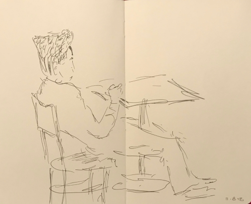 Sketch: Pen and Ink - Slouching Man with Tall Hair