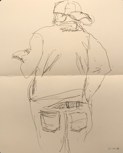 Sketch: Pen and Ink - Uneasy Man Standing While Reading a Book