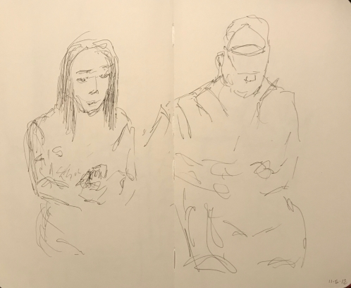 Sketch: Pen and Ink - Very-Much-Prettier-in-Person Woman and Boyfriend