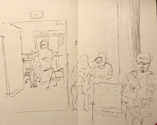 Sketch: Pen and Ink - Waiting Room View of Blood Pressure Test