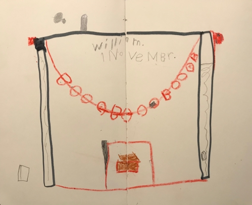 Sketch: Crayon, Marker and Pencil - William's Rendition of the Halloween Mantle