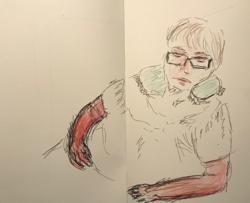 Sketch: Pen and Ink, Colored Pencil - Woman Resting with Poorly Rendered Arms
