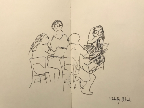 Sketch: Pen and Ink - Family Drawn Totally Blind