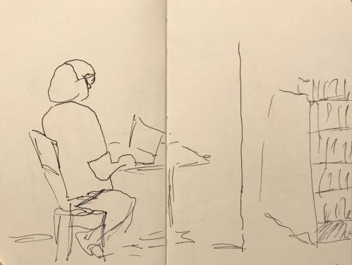 Sketch: Pen and Ink - In the Bookstore
