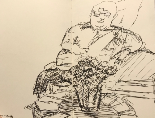 Sketch: Pen and Ink - Large Man Waiting for Tests