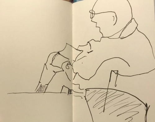 Sketch: Pen and Ink - Man Relaxing with a Book, Drawn Blind