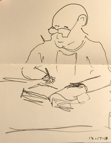 Sketch: Pen and Ink - Man with Glasses Writing