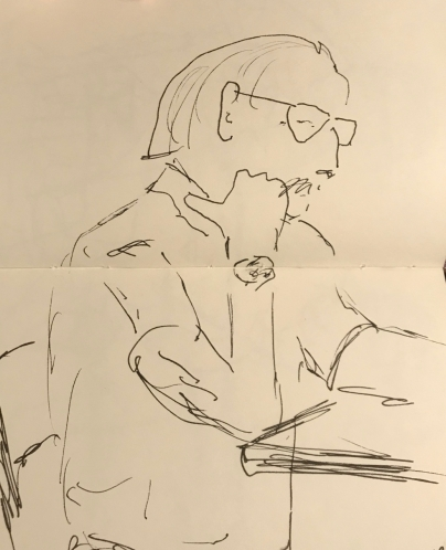 Sketch: Pen and Ink - Man with Watch, Thinking