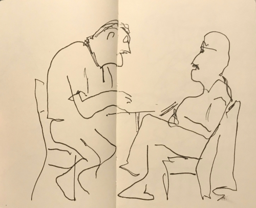 Sketch: Pen and Ink - Men Arguing, Drawn Blind and Modified