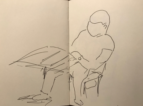 Sketch: Pen and Ink - Outline of Man with Watch