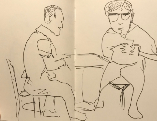 Sketch: Pen and Ink - Two Figures Engaged in Different Activities