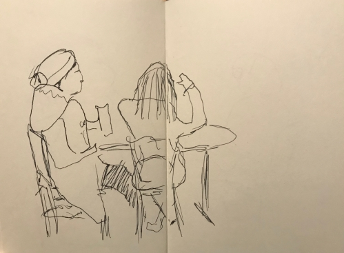 Sketch: Pen and Ink - Two Girls in the Corner
