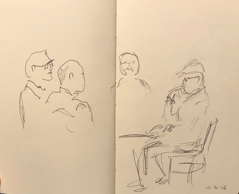 Sketch: Pen and Ink - Two Sketched Figures and Two Sketchy Figures