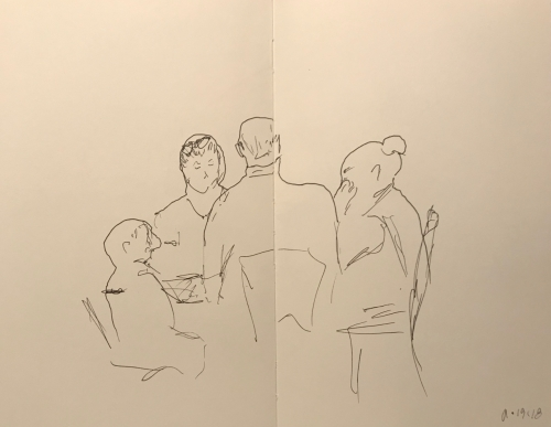 Sketch: Pen and Ink -Blind Drawing of Family Group