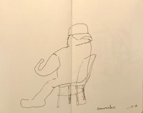 Sketch: Pen and Ink -Blind Drawing Turned Homunculus