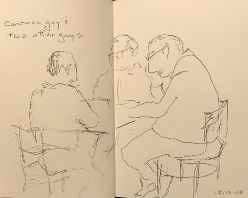 Sketch: Pen and Ink - Cartoon Guy and Two Other Guys