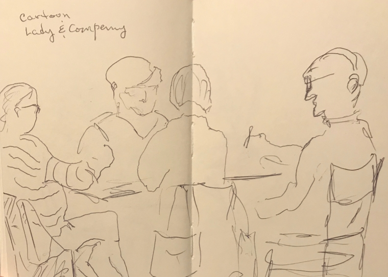Sketch: Pen and Ink - Cartoon Lady and Company