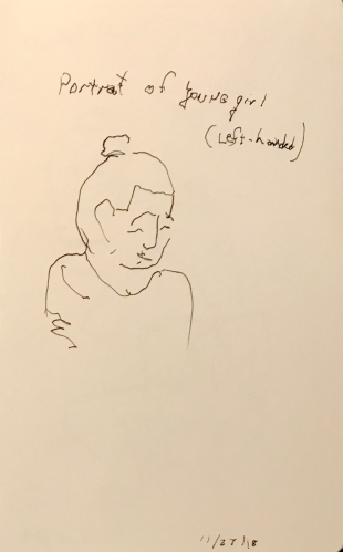 Sketch: Pen and Ink - Left-Handed, Blind Drawing of Young Girl