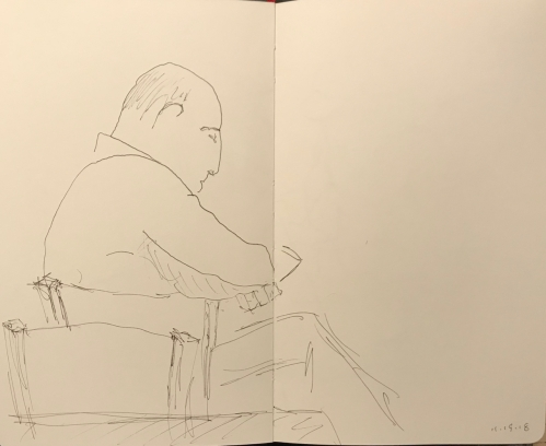 Sketch: Pen and Ink - Partly Blind Drawing of Man Leaning on Chair