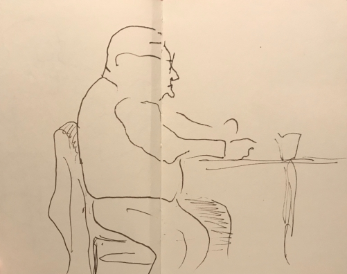 Sketch: Pen and Ink - Partly Blnd Drawing of Man with Pointy Chin