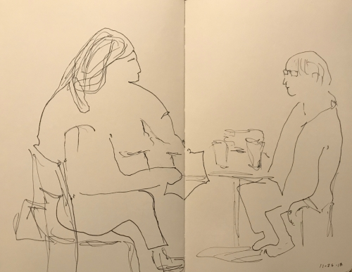 Sketch: Pen and Ink -Two Women Having Coffee, Drawn Blind