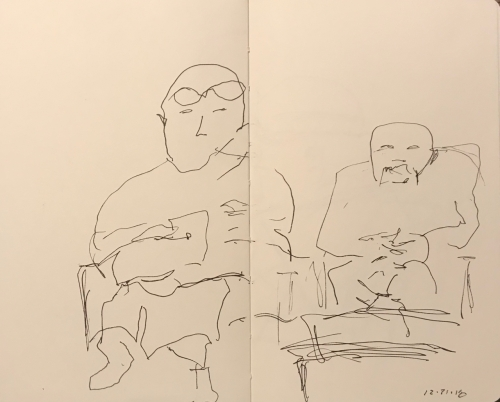 Sketch: Pen and Ink - Son and Father at Eye Doctor Appointment
