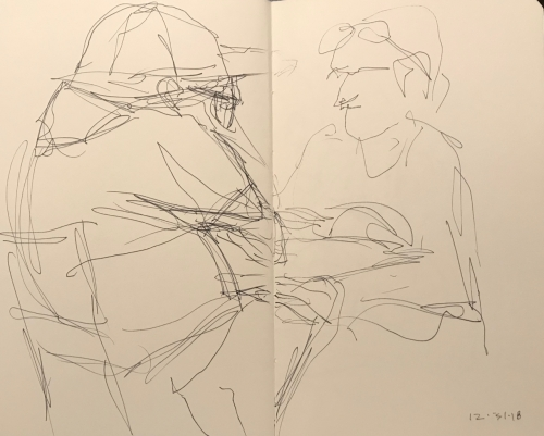 Sketch: Pen and Ink - Anxious Man and Calm Partner, Reading