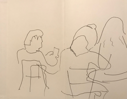 Sketch: Pen and Ink - Boy and Two Girls, One in a Hoodie