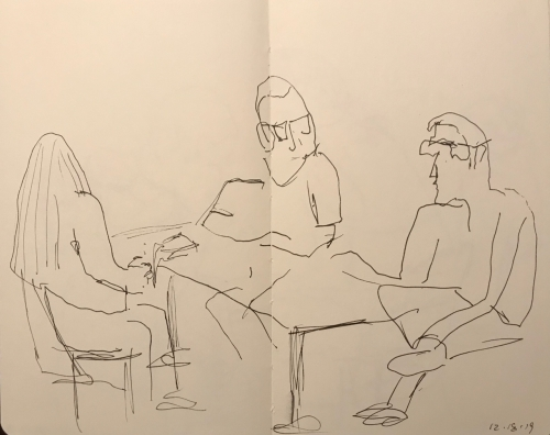 Sketch: Pen and Ink - Discussion: Two Men and a Woman