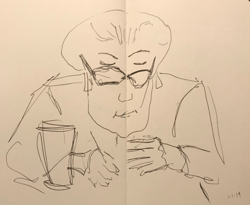 Sketch: Pen and Ink - Figuring Out the Bill