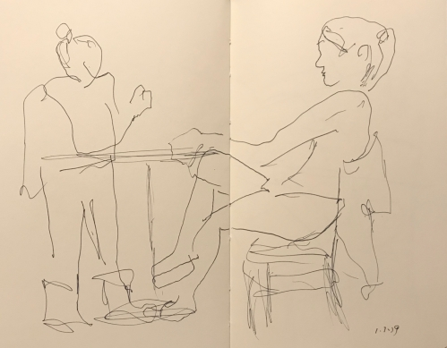 Sketch: Pen and Ink - Girl with Long Legs and Standing Girl