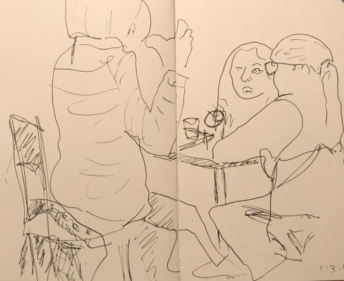 Sketch: Pen and Ink - Jaundiced Reaction to Fish Story