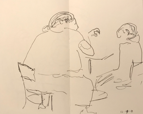 Sketch: Pen and Ink - Large Tutor and Student