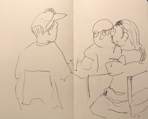 Sketch: Pen and Ink - Man in Cap with Mother and Father