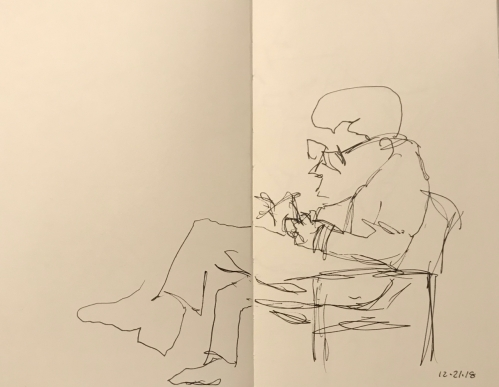 Sketch: Pen and Ink - Man Reading a Magazine While Waiting for the Doctor