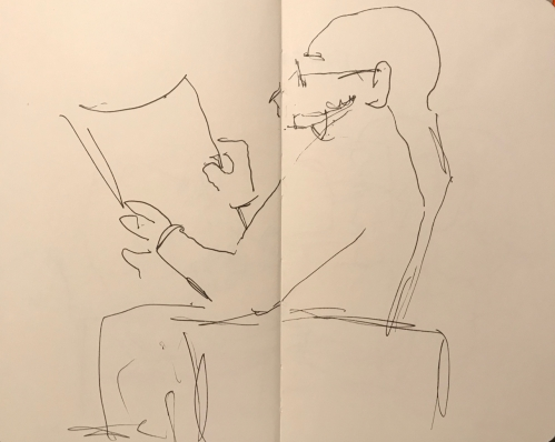 Sketch: Pen and Ink - Man Reading a Newspaper, with Artist-Induced Chin Relocation