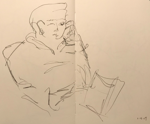 Sketch: Pen and Ink - Man Too Close to Draw in Comfort