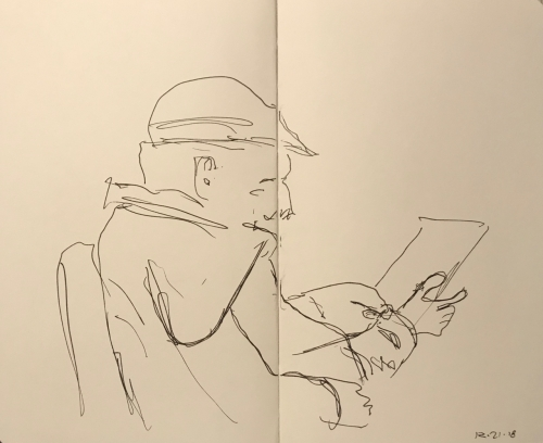 Sketch: Pen and Ink - Man with Cool Hat Waiting for Eye Doctor