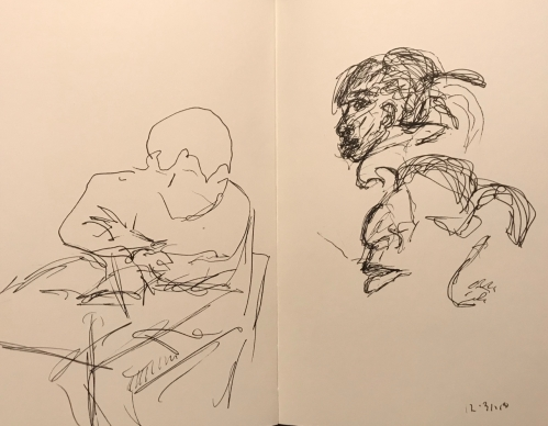 Sketch: Pen and Ink - Man with Folded Arms; Very Beautiful Woman