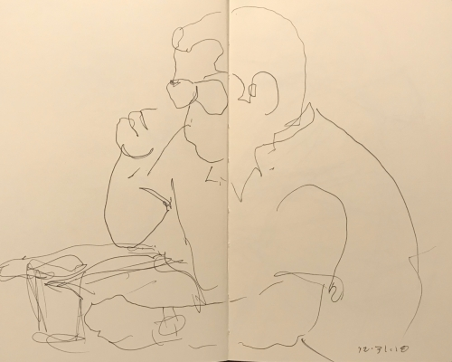 Sketch: Pen and Ink - Man with Invisible Coffee Cup