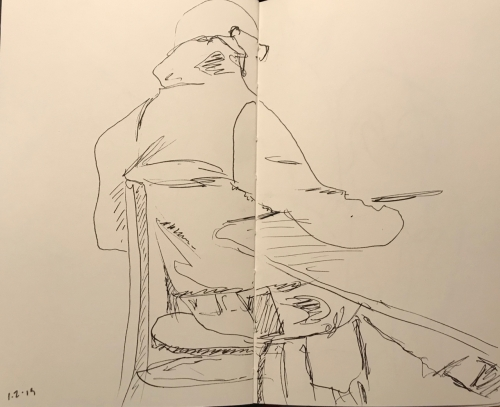 Sketch: Pen and Ink - Man with Turned-up Collar Relaxing
