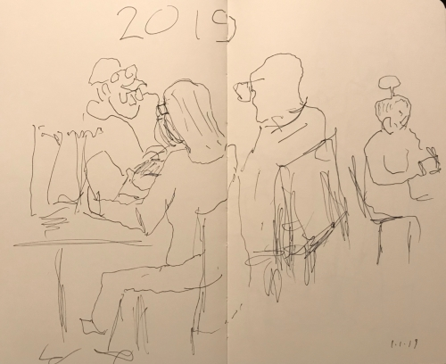 Sketch: Pen and Ink - New Year's Day: Girl with Atomic Hair and Man with Disintegrated Hat