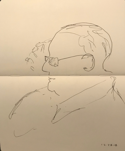 Sketch: Pen and Ink - Portrait of a Man Touching Forehead with Sketchy Finger