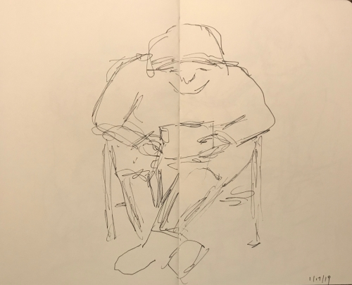 Sketch: Pen and Ink - Reading Just Before Eye Appointment