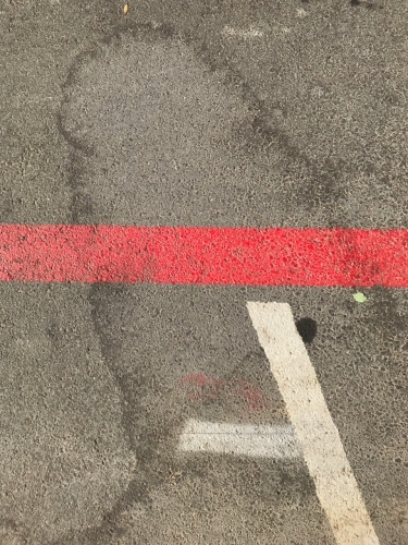 Photograph: Street Photography - Street Art #6: Painted Lines and Water Curves on Macadam 101718