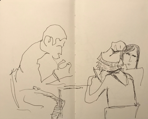 Sketch: Pen and Ink - Study Group with Girl in Sock Hat and Braids