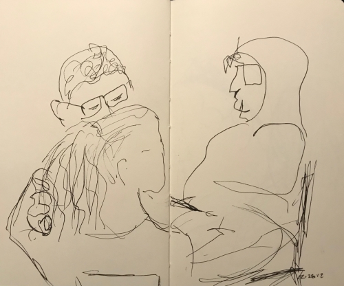Sketch: Pen and Ink - Trio: Girl With Fingers in Her Hair; Man with Glasses and Man with Ambiguous Chin