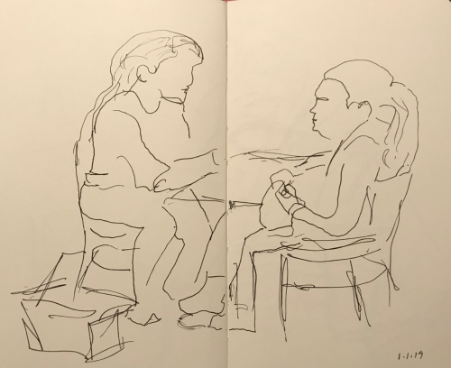 Sketch: Pen and Ink - Two Girl Outlines with Some Inner Detail