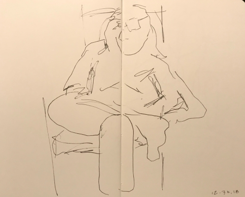 Sketch: Pen and Ink - Very Tall Woman with Orthopedic Shoes