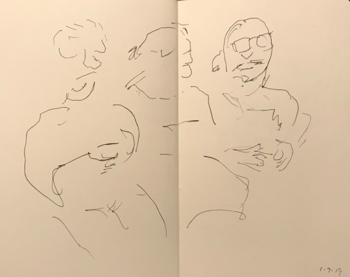 Sketch: Pen and Ink - Waiting for Surgery: Discombobulated Face Parts